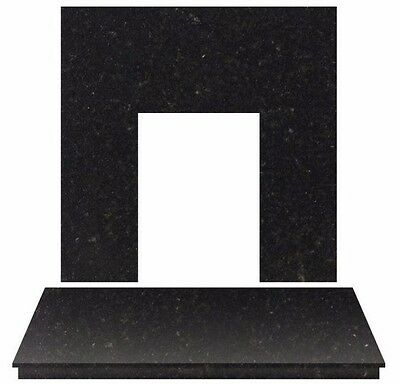 £330 • Buy Black Granite Electric Gas Fire Fireplace Wall Hearth Back Panel Set Large 54