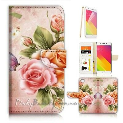 AU12.99 • Buy ( For Oppo A57 ) Wallet Case Cover P21123 Flower