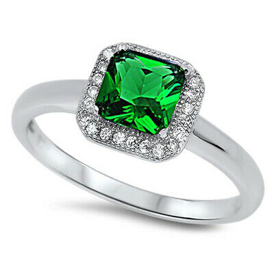 $15.79 • Buy Emerald CZ Square Solitaire Halo Ring New .925 Sterling Silver Band Sizes 5-10