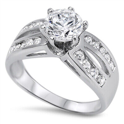 $20.39 • Buy White CZ Polished Solitaire Bridal Ring New .925 Sterling Silver Band Sizes 5-11