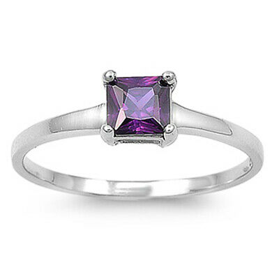 $14.59 • Buy Small Princess Cut Square Amethyst CZ Solitaire Sterling Silver Ring Sizes 4-10