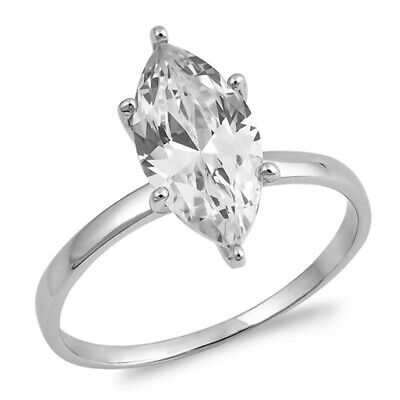 $14.49 • Buy Large Solitaire Clear CZ Engagement Ring New 925 Sterling Silver Band Sizes 4-10