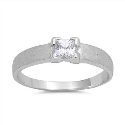 $12.99 • Buy Princess Cut Square Clear CZ Solitaire Ring .925 Sterling Silver Band Sizes 5-9