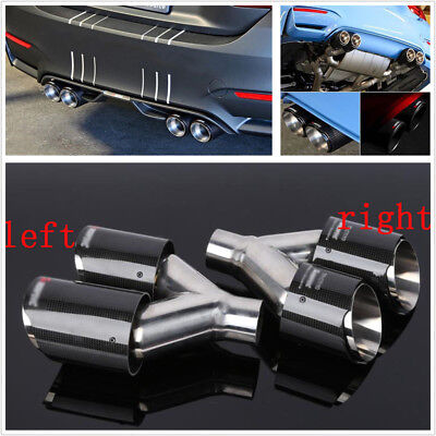 $ CDN263.24 • Buy 1 Pair 63-89mm Glossy Carbon Fiber Dual Exhaust Pipe Tail Muffler Tip Left+Right