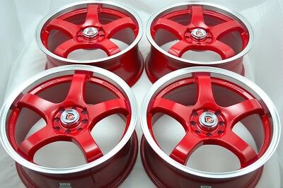 $539 • Buy 4 New DDR Fuzion 17x7.5 4x100/114.3 38mm Red/Polished Lip Wheels Rims