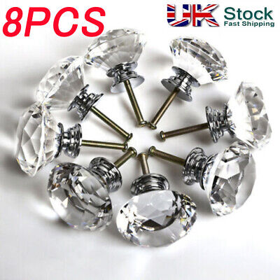 8x 40mm Crystal Diamond Glass Pull Handle Door Knobs Drawer Cupboard Cabinet • 6.99£