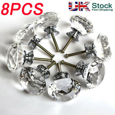 8x 40mm Crystal Diamond Glass Pull Handle Door Knobs Drawer Cupboard Cabinet • 4.99£