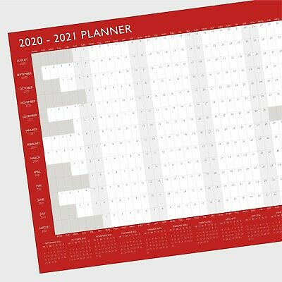 A2 2019-2020 Large Academic Mid Year Student Wall Planner Calendar - Red / Grey • 3.49£