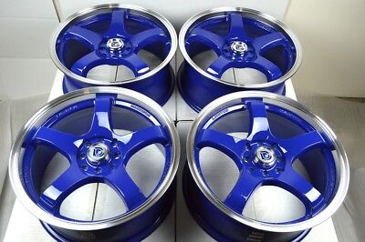 $539 • Buy 4 New DDR Fuzion 17x7.5 4x100/114.3 38mm Blue/Polished Lip 17  Wheels Rims