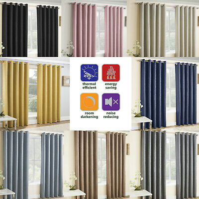 VOGUE Thermal Blockout Lined Curtains Eyelet Ring Top Ready Made Energy Saving • 26.99£