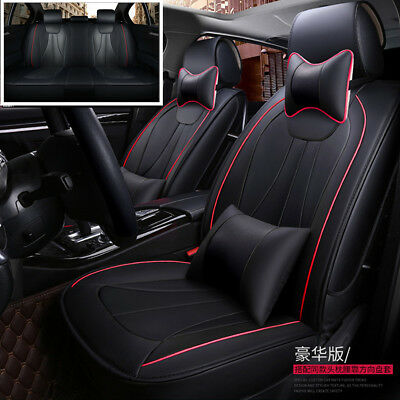 $ CDN128.30 • Buy Deluxe Edition Car Seat Cover 5-Seats Front+Rear Seat Cushion PU Leather+Pillows