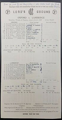 Cricket Scorecard - Oxford V Cambridge, July 6-9, 1957 At Lords CC, 1st Innings • 10£