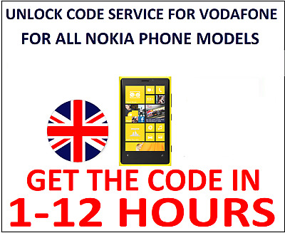 Vodafone UK Unlock Code For Nokia Lumia 1020 830 630 530 510 ANY LUMIA Supported • 2.99£