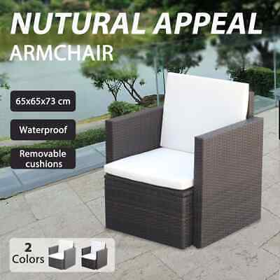 AU178.99 • Buy VidaXL Garden Chair With Cushions And Pillows Poly Rattan Seat Brown/Black
