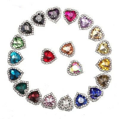 $6.79 • Buy 20 Pcs Costume Dress Heart Color Glass Applique Sewing On Button 12/14/18mm Pick