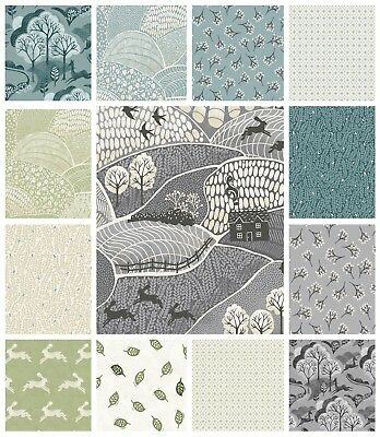 £1.99 • Buy INTO THE WOODS FABRIC By MAKOWER - QUILTING CRAFT FABRIC RABBITS TREES CLEARANCE