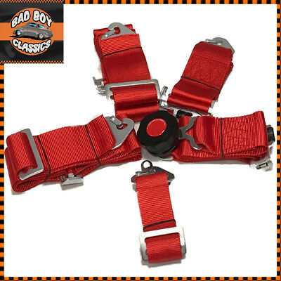RED 5 Point Racing Harness Quick Release Latch Clip Fitting + Eye Bolts  • 40.76£