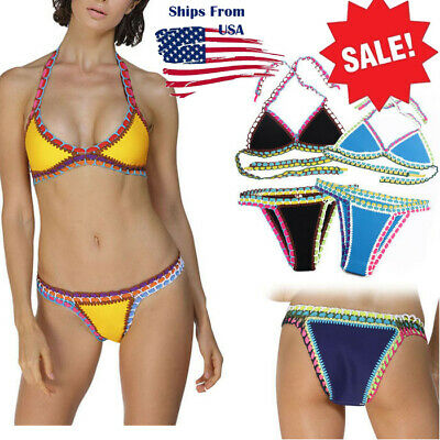 $ CDN3.81 • Buy Women Stretch Bikini Crotchet Neoprene Swimwear Top Bathing Suit Swimsuits S-2XL