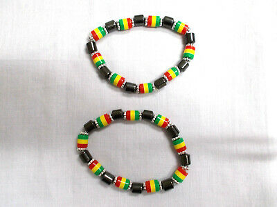 $6.99 • Buy New Set Of 2 Rasta Red Yellow Green & Magnetic Hematite Beaded Stretch Bracelet