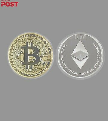 AU6 • Buy Gold Plated Bitcoin. Silver Plated Ethereum. Novelty Coin Set. Brand New.