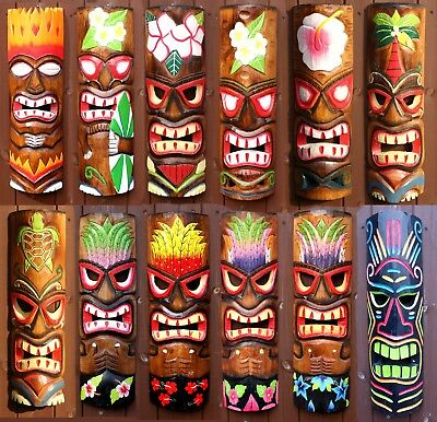 £17.90 • Buy Tiki Bar Mask Sign 50cm Decoration Wall Hanging Mask Accessories Wood Carving