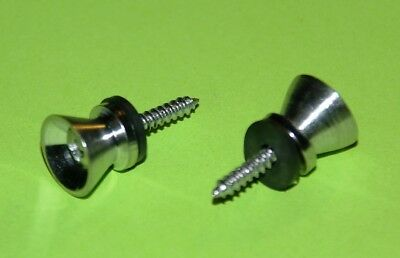 $ CDN4.66 • Buy 1 Pair Of Guitar Strap Buttons, Metal, Chrome, With Screws And Black Washers.