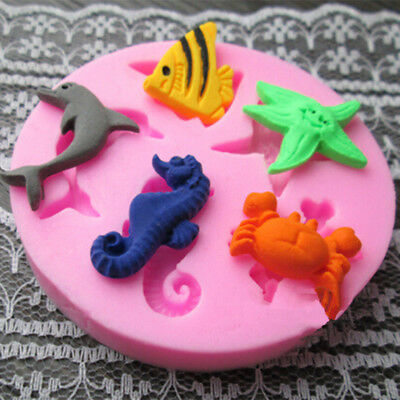 £3.78 • Buy SEA SHELLS ANIMALS FISH Silicone Fondant Cake Topper Mold Mould Chocolate Candy