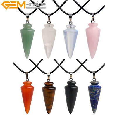 £2.75 • Buy Natural Cone Stone Pendants Healing Chakra Beads Charms Necklace Jewelry Making