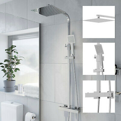 Thermostatic Shower Mixer Square Chrome Bathroom Exposed Twin Head Valve Set • 94.99£