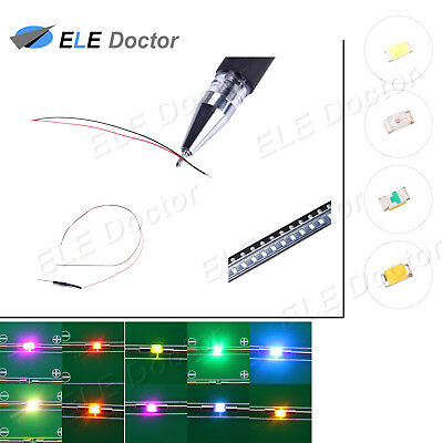 $6.29 • Buy 10 50 100 1000pcs DC9-12V 0402 0603 0805 1206 SMD LED Pre-Wired White Red Blue