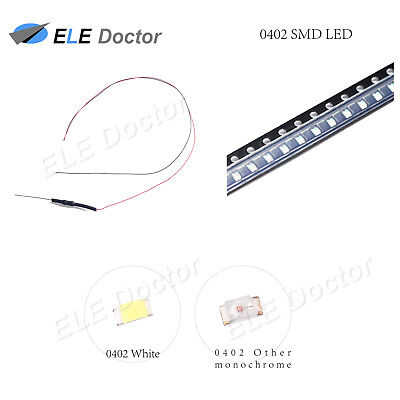 $5.55 • Buy 10pcs 50pcs 100pcs 0402 0603 0805 1206 Pre-Wired SMD LED White Red Blue DC9-12V