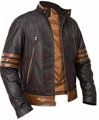 X-Men Wolverine Origins Bomber Style Brown Real Leather Jacket • 68£