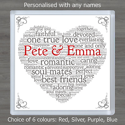 £3.45 • Buy Valentines Day Personalised Word Art Heart Coaster Romantic Gift For Him Or Her
