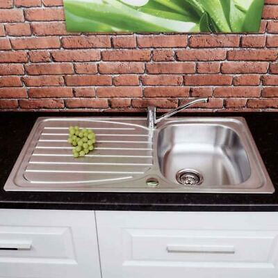 Stainless Steel Inset Kitchen Sink Single Bowl Reversible Drainer + FREE Waste • 59.99£