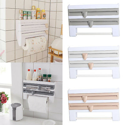 Kitchen Towel Foil 4-in-1 Kitchen Roll Holder Cling Film Dispenser Wall Mounted • 12.69£