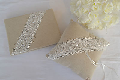 Vintage Style Linen Hessian Wedding Guest Book & Ring Cushion With Lace & Pearls • 13.95£