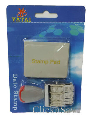 £3.99 • Buy Rubber Date Stamp & Ink Pad Adjustable Day/Month/Year Home/Office
