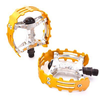 $23.50 • Buy Old School BMX XC-II Wellgo Bear Trap Pedals 9/16  FOR 3 PIECE CRANKS Gold Cage