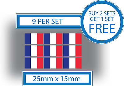 9 X French Flags Small Bike Helmet Car Vinyl Stickers Decals Crafts France 25mm • 2.49£