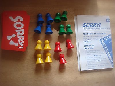 £2.99 • Buy Waddingtons Sorry Replacement - Spare Playing Pieces / Cards Round & Rectangle