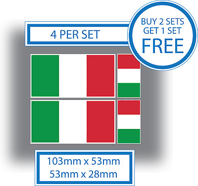 4 X Italian Flags Classic Sports Car Motorcycle Window Vinyl Stickers Decals  • 2.69£