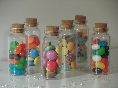 Small Clear Glass Cork Lid Bottles Jars Party Sweets Wedding Table Favours 3x7cm • 7.45£