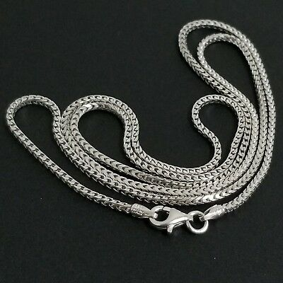 $29 • Buy 14K White Gold Over Sterling Silver Italian Foxtail Franco Box Chain Necklace