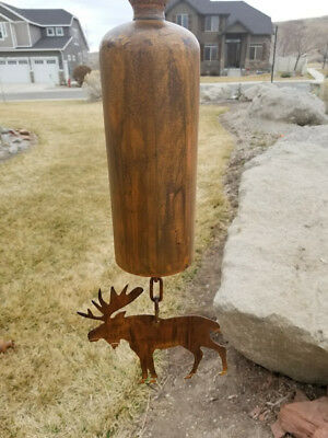 Copper Patina Unique Moose Hanging Bell Wind Chime Rustic Cabin Mountains Nature • 85$