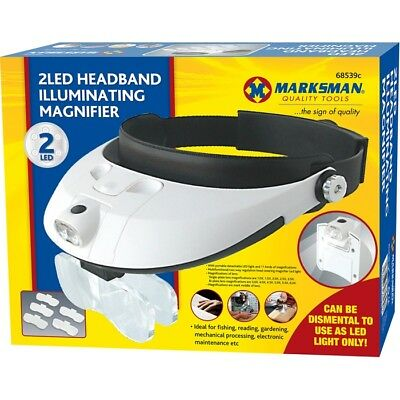 Headband Lamp Lightweight Head Magnifier Adjustable 2 Led Light Magnifying Glass • 10.99£