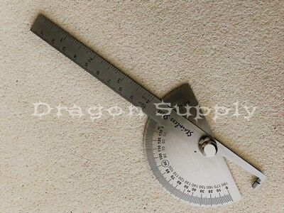 $8.95 • Buy New SAE Stainless Steel Rotary Protractor Angle Rule Gauge Machinist Tool