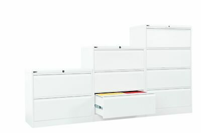 AU779.99 • Buy WHITE Rapidline GO Steel Lateral Filing Cabinet 3 Sizes ASSEMBLED