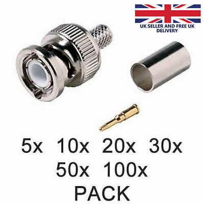 £3.49 • Buy BNC Crimp Connector Male RG59 3 In 1 Coaxial Cable Plugs CCTV Accessory UK