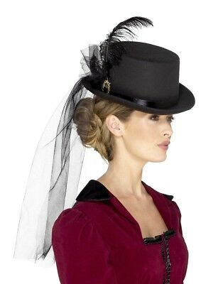 Deluxe Ladies Victorian Top Hat Black With Veil Fancy Dress Accessory • 10.85£
