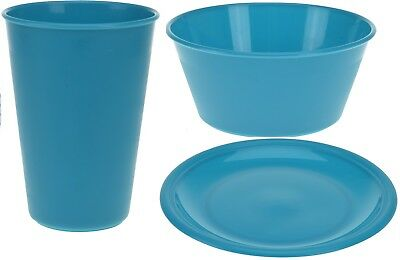 £4.99 • Buy Set Of 4 Childrens Picnic Camping Plastic Plates Bowls Tumblers Teal
